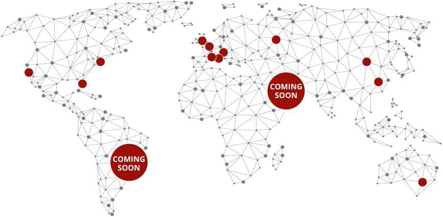 in questa cartina vengono mostrati i luoghi in cui abbiamo lavorato, Australia Cina Mongolia Europa Stati Uniti e prossimamente in Brasile e Dubai