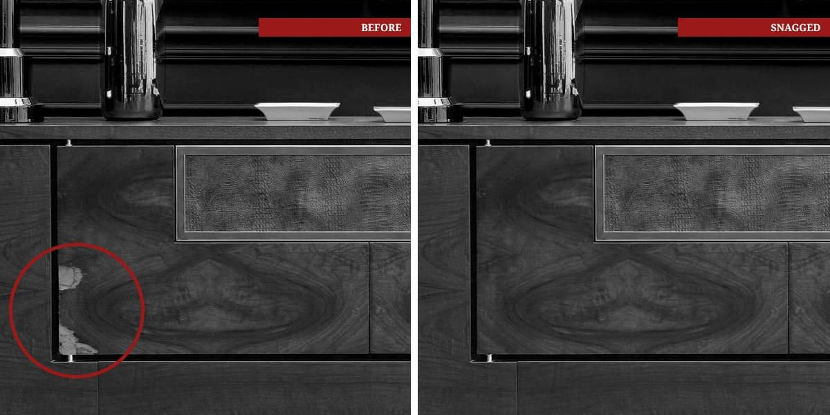 SNAGGED-legname- credenza-rovinato-riparata